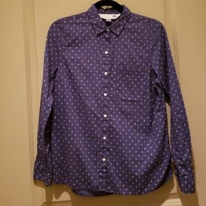 Indigo long sleeve button up with flower pattern